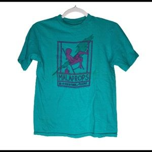 Vintage Malaprops Cafe Teal Tshirt Purple Graphic